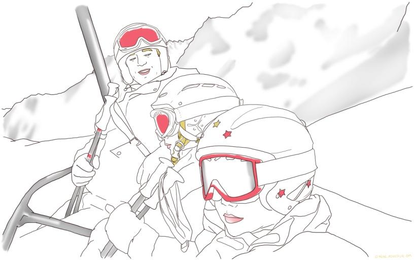 illustration enfants masque et casque ski telesiege