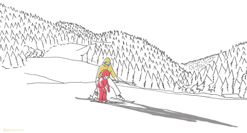 croquis du mercredi mémé moustache ski enfant meaudre