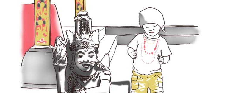 danse enfant statue bali illustration dessin