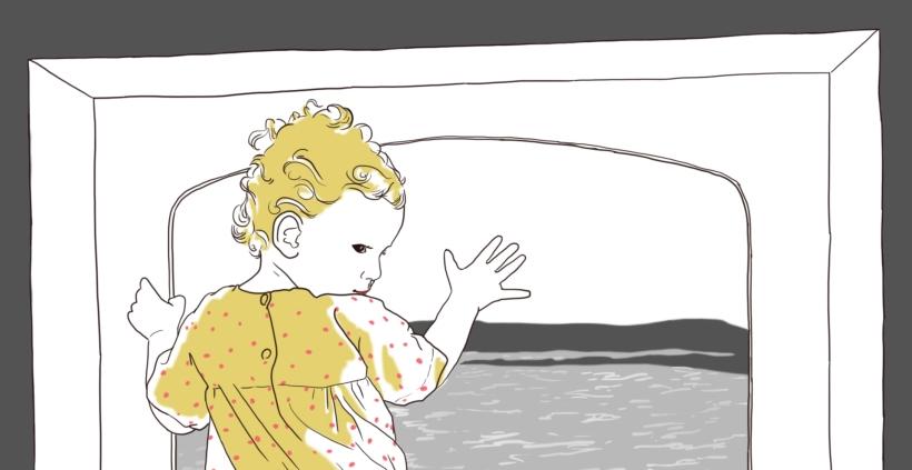 fillette devant hublot dessin illustration
