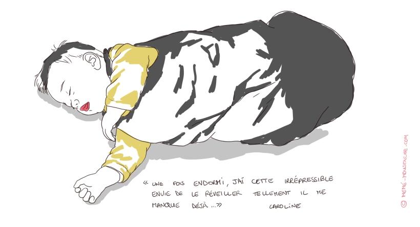 dessin, l'enfant endormi manque déjà à sa maman