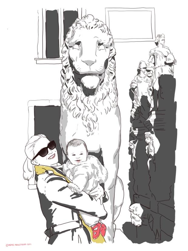 Venise avec un bébé, le lion