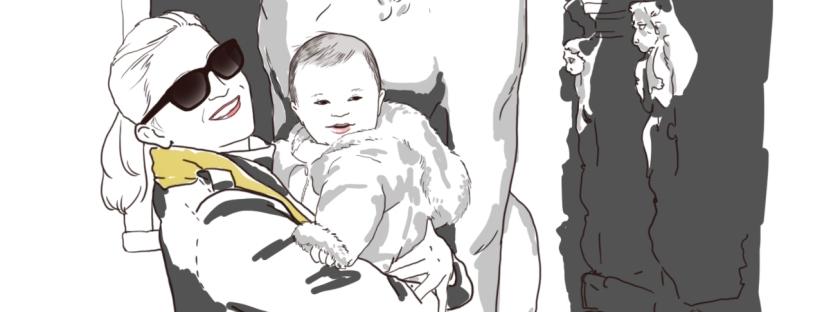bébé dans les bras devant lion de venise illustration dessin