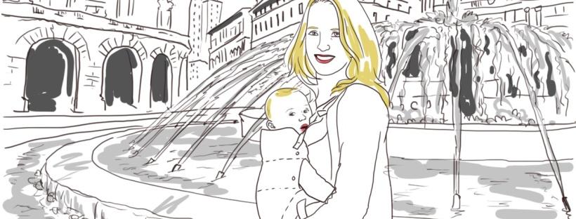 dessin fontaine genes bébé en porte bébé portage femme blonde