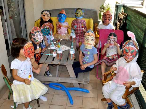 gouter d'anniversaire masques danse indienne thème asie du sud