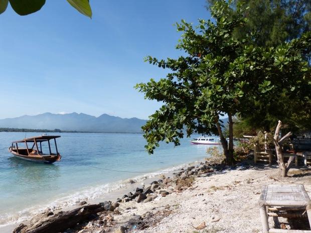 plage bateau, îles Gili, Lombok, Indonésie