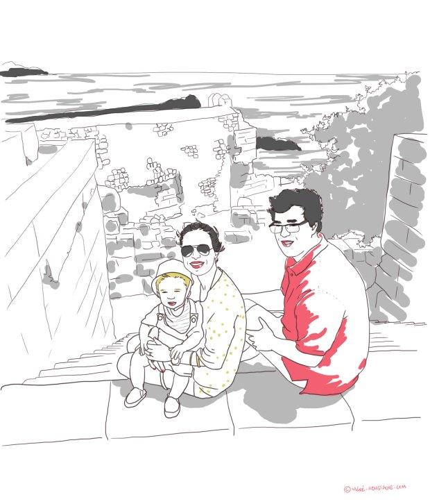 croquis illustration rhodes en famille Lindos avec un bébé