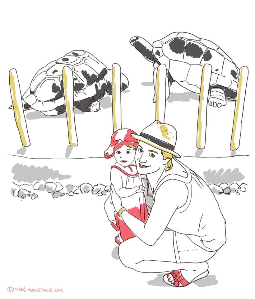 illustration dessin zoo enfant tortues géantes petite fille