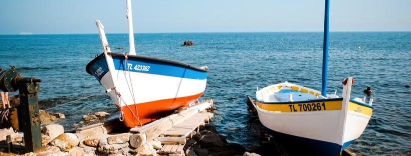 Plage de la verne la-seyne-sur-mer bateaux pointus