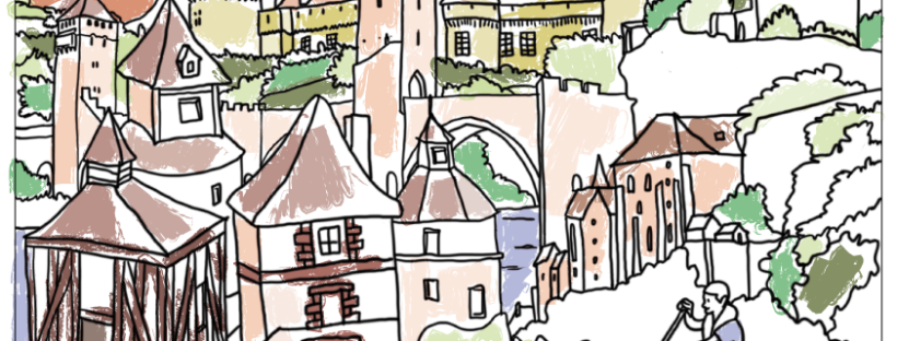 Free Printable coloriage architecture chateaux pont Lot Rocamadour colorié