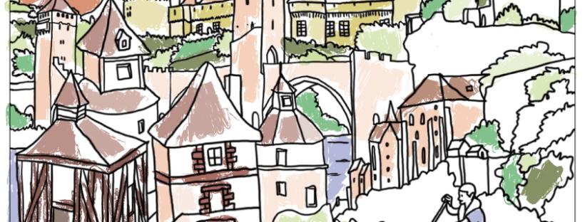 Free Printable coloriage architecture chateaux pont Lot Rocamadour colorié