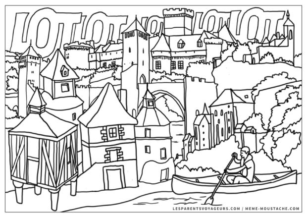 Free Printable coloriage architecture chateaux pont Lot Rocamadour