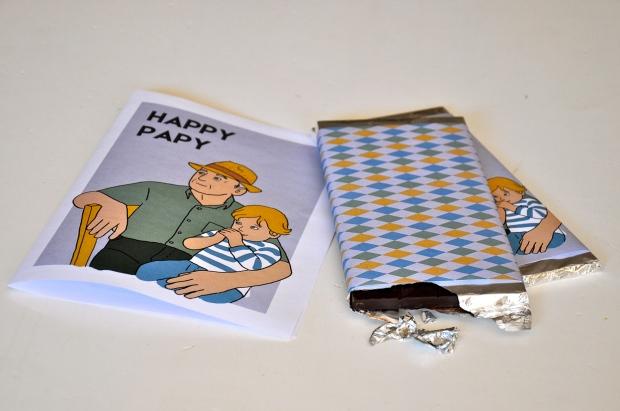 printable tablettes chocolat fête des grands-pères avec carte