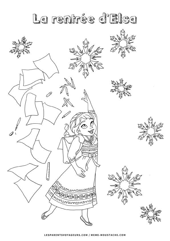 coloriage reine des neiges elsa fait sa rentrée école