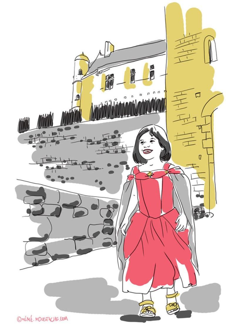 princesse deguisement beynac chateau illustration dessin
