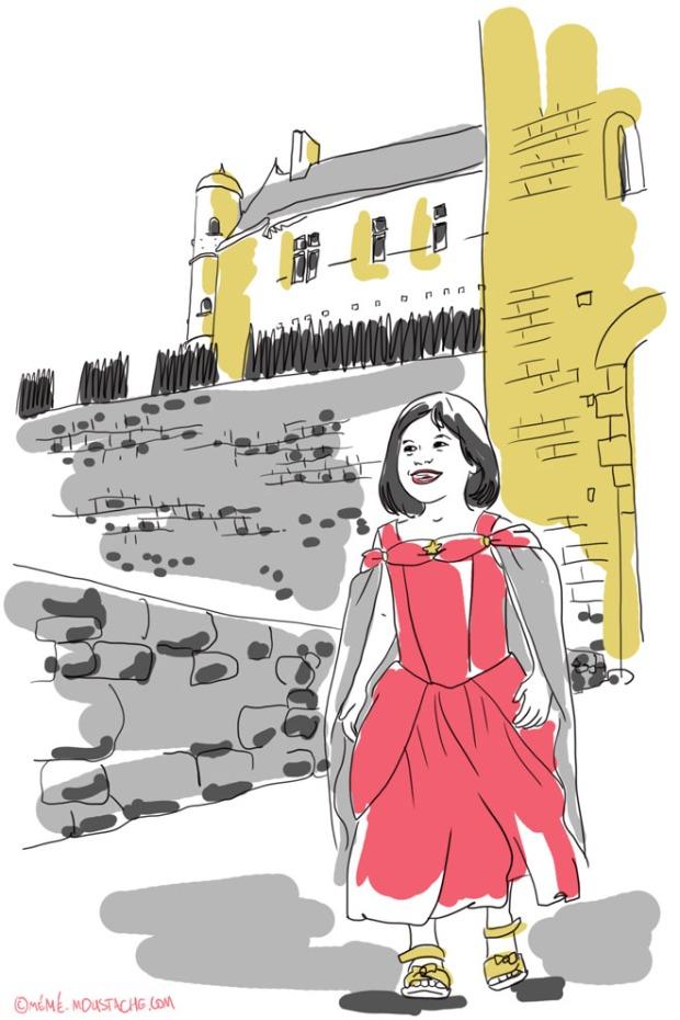 illustration dessin de fille deguisee en princesse devant le chateau de beynac