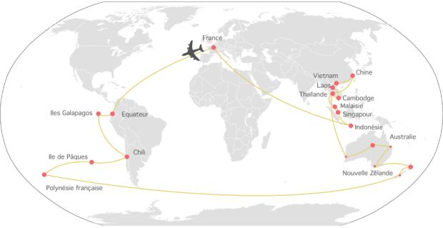 itinéraire carte tour du monde famille enfants 12 pays 11 mois