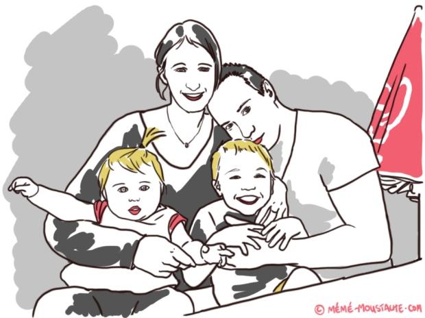 famille 2 enfants illustration dessin