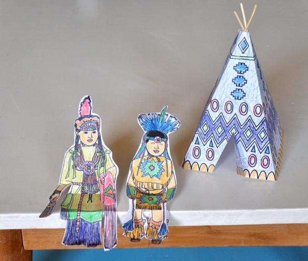 tipi et poupées indiens printable