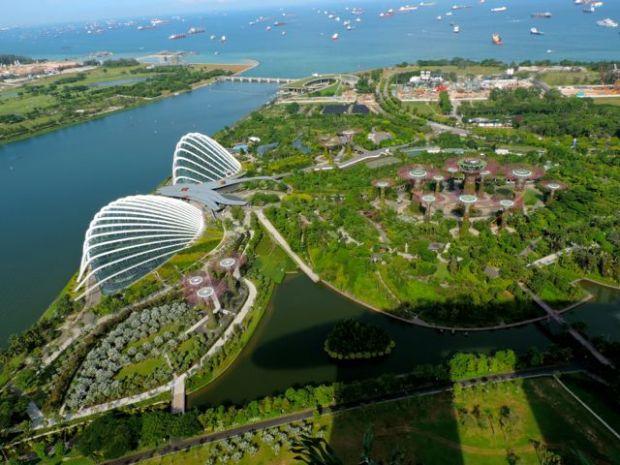 Vue depuis l'hôtel Marina Sand Bay, Singapour