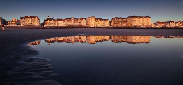 wimereux, front de mer au soleil couchant