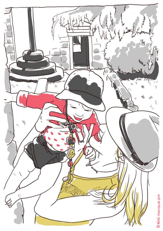 croquis bretagne enfant en l'air mère avec chapeau