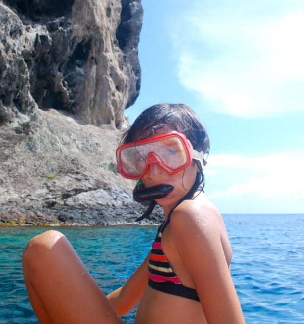 fille snorkeling martinique