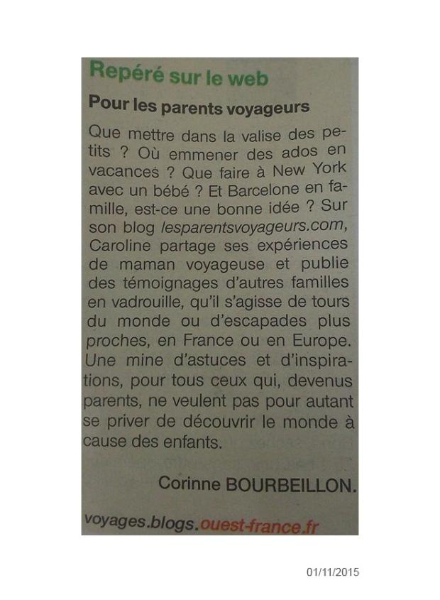 article blog voyage les parents voyageurs ouest france