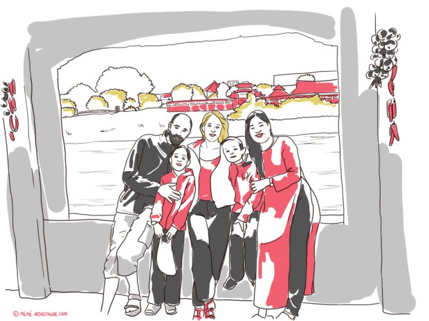 croquis illustration famille vietnam
