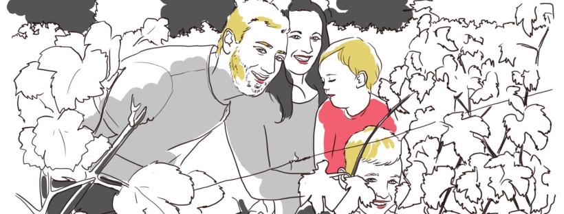 illustration famille dans les vignes