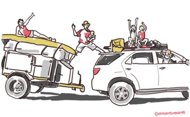 illustration six en piste voyage en famille en afrique en 4x4, remorque et sous la tente