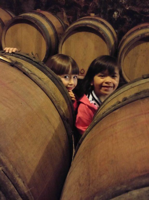 fillettes cachées derrière des tonneaux de vin domaine borgnat