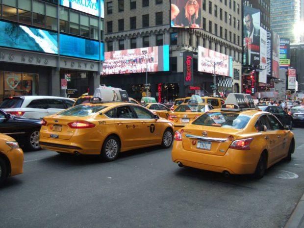 taxis jaunes de derrière New York