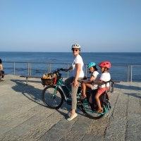Cascais en famille en vélo cargo