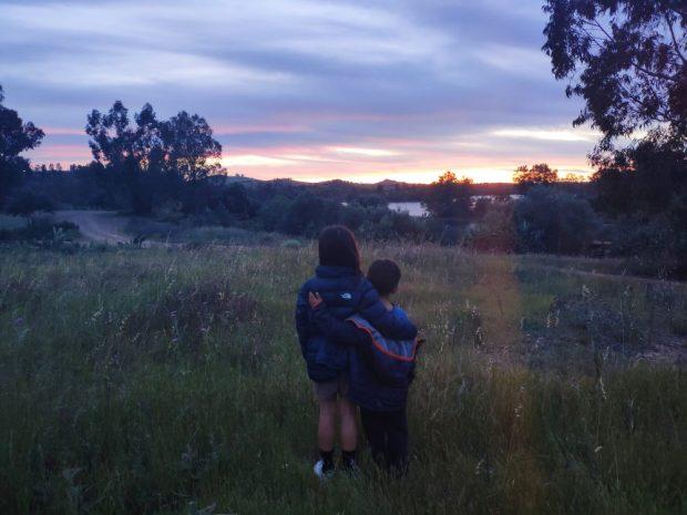 camping sauvage Alentejo / Mina de Sao domingos en velo avec des enfants Portugal